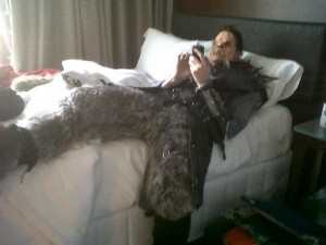 Being lazy at Dragon*Con, playing on my phone.