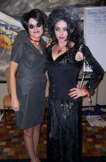 Cindy as Bellatrix and Missy as the mother from Coraline.